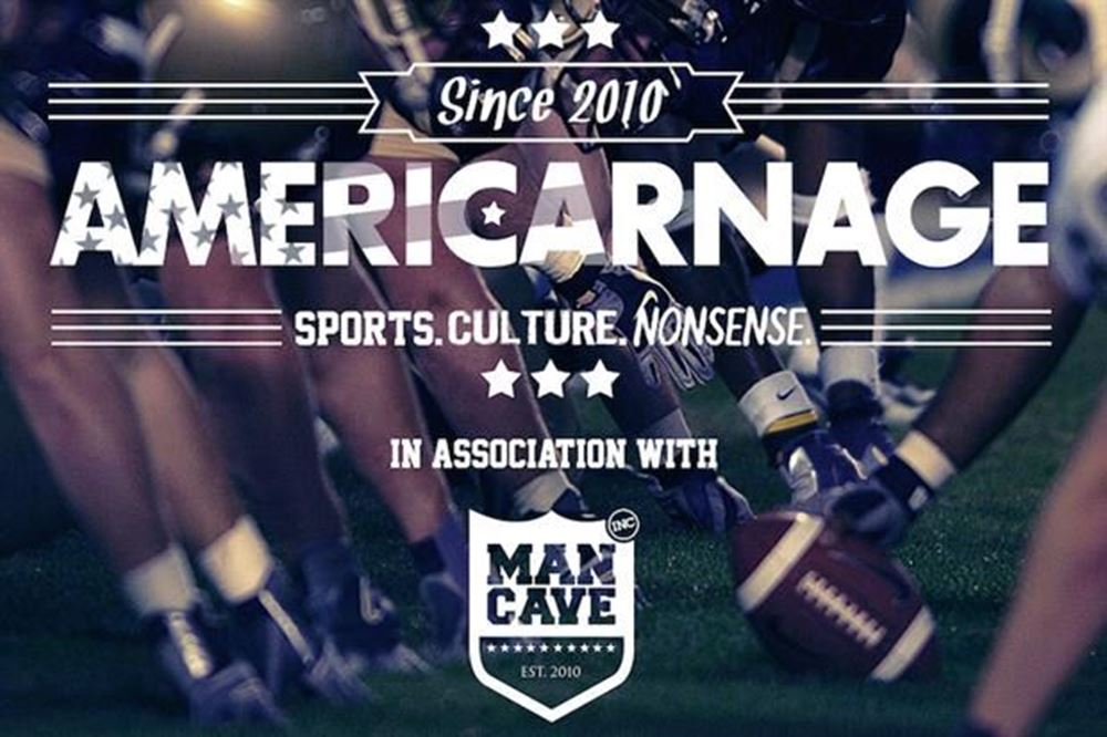 A title image depicting an American football and the words 'Since 2010 Americarnage Sports, culture, nonsense, In association with ManCaveInc'