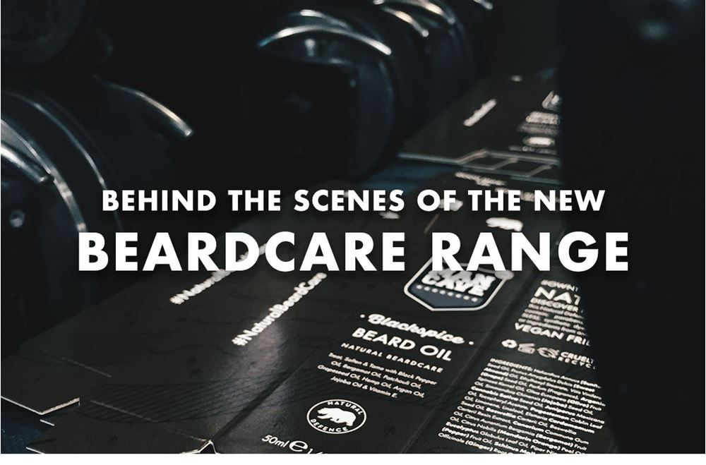 Title image 'Behind the scenes of the new beard care range' depicting the making of a ManCave Beard Oil box