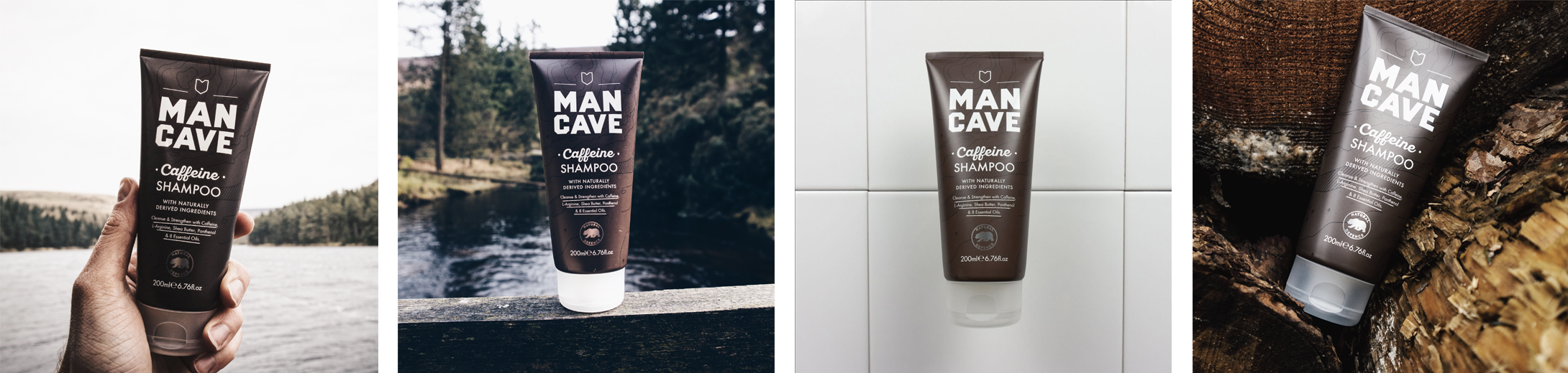 A selection of four lifestyle images. From left to right, a ManCave Caffeine shampoo being held by a mans hand in front of a blurred lake and tree line, a ManCave caffeine shampoo standing on a wooden fence in front of a blue river, a ManCave caffeine shampoo laid on a white tiled surface and a ManCave caffeine shampoo set between wooden logs