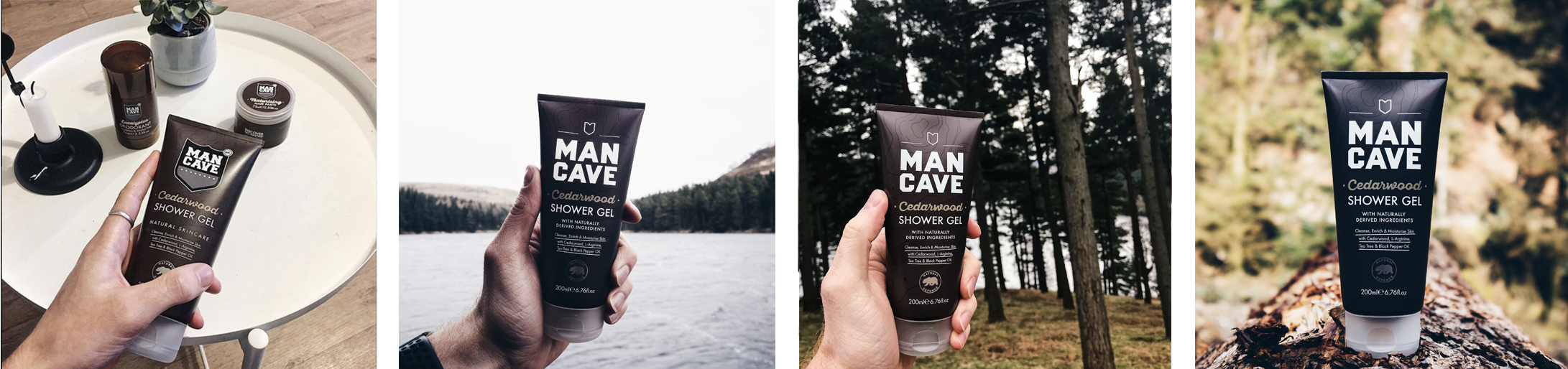 A selection of four lifestyle images. From left to right, a ManCave cedar wood shower gel held in a mans hand with a wooden table, candle and other ManCave products in the background, a ManCave cedar wood shower gel held in a mans hand with a blue lake and tree line blurred in the background, a ManCave cedar wood shower gel held in a mans hand in front of a cluster of trees and a ManCave cedar wood shower gel standing on bark with a forest blurred out in the background