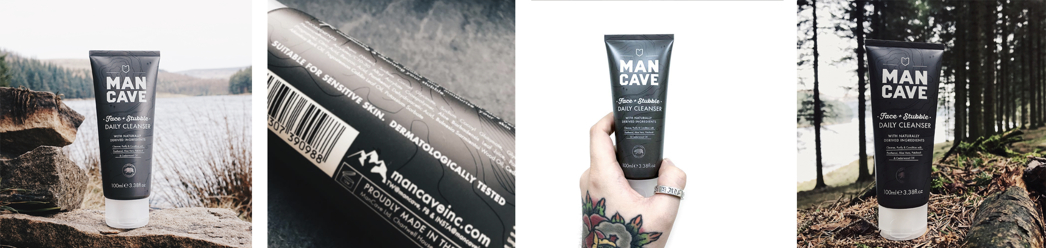 A selection of four lifestyle images. From left to right, a ManCave face and stubble daily cleanser standing on a rock in front of a blue lake, the back of the ManCave face and stubble daily cleaner label showing the words 'Suitable for sensitive skin. Dermatologically tested', a ManCave face and stubble daily cleanser being held by a mans hand that's brightly tattooed on a white background and a ManCave face and stubble daily cleanser in front of a grassy hill and tree line