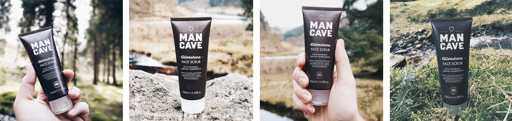 A selection of four lifestyle images. From left to right, a ManCave olive stone face scrub held by a mans hand with a blurred forest in the background, a ManCave olive stone face scrub standing on a rock surface, a ManCave olive stone face scrub held in a mans hand  with a river blurred in the background and a ManCave olive stone face scrub on a grassy verge