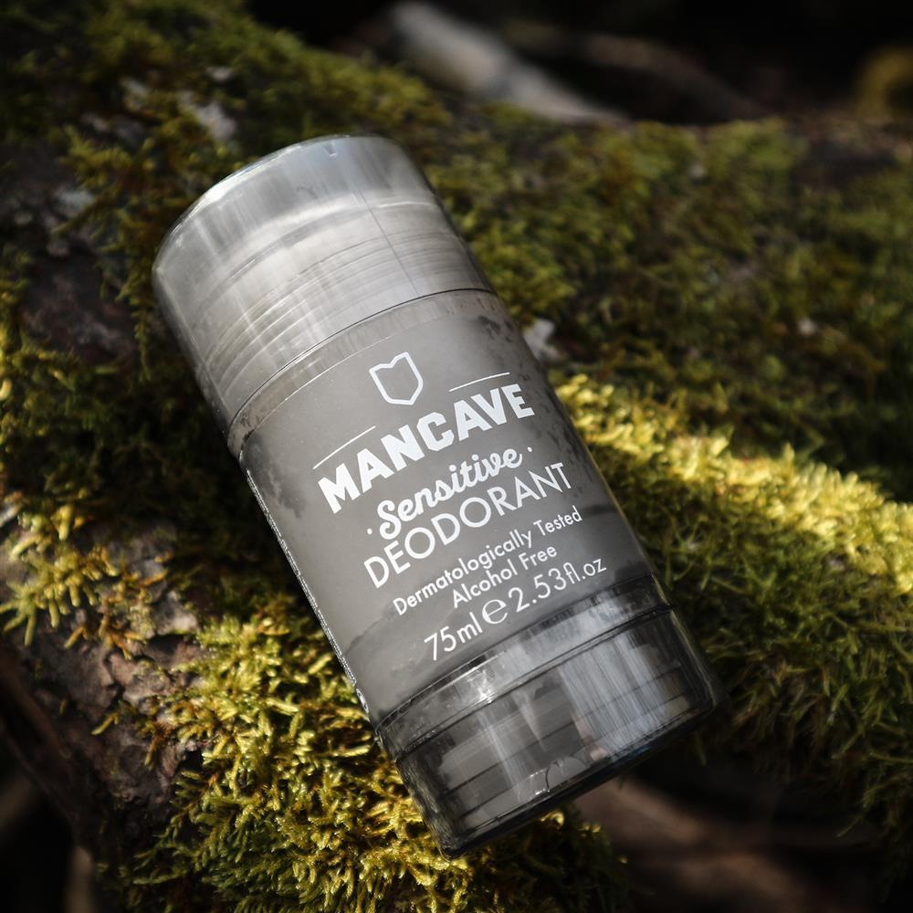 A ManCave Sensitive Deodorant on mossy wood