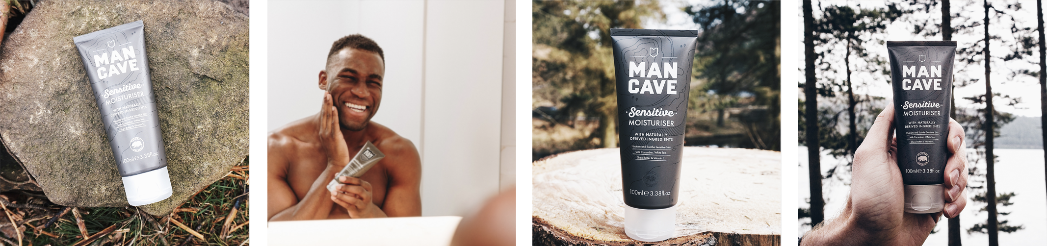 A selection of four lifestyle images. From left to right, a ManCave sensitive moisturiser laid on a rocks surface, a man smiling into a bathroom mirror as he rubs ManCave sensitive moisturiser into his face, a ManCave sensitive moisturiser standing on a cut tree trunk with a forest blurred out in the background and a ManCave sensitive moisturiser held by a mans hand in front of a tree line and a blue lake.