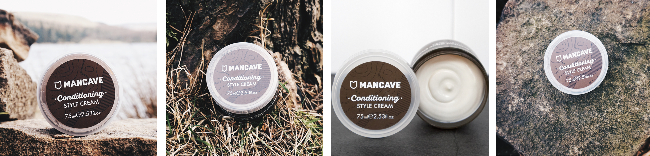 A selection of four lifestyle images. From left to right, a ManCave conditioning style cream resting on a rock in front of a blue lake, a ManCave conditioning style cream laid on bark and grass, a ManCave conditioning style cream opened standing on a grey surface with a white tiled wall, and a ManCave conditioning style cream on a brightly textured rock