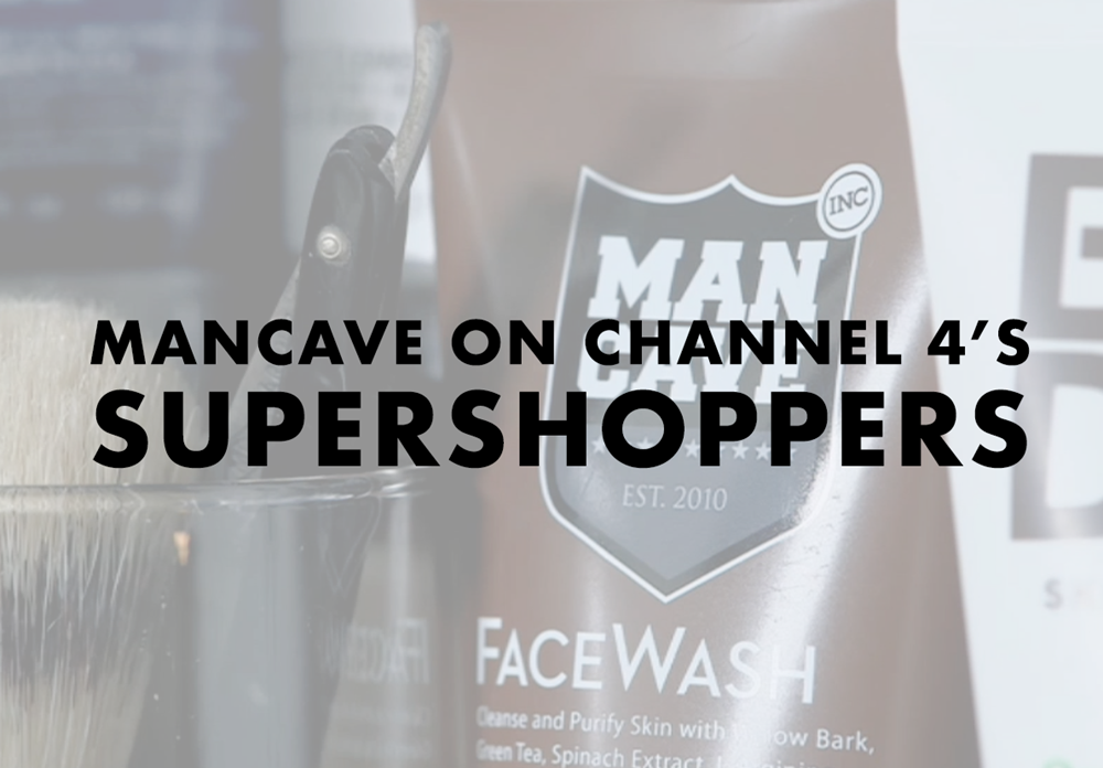 A title image depicting a ManCave Willowbark Face Wash image taken from a live TV programme with the text 'ManCave on Channel 4's Super Shoppers
