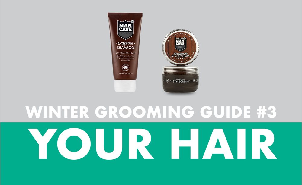 Image with title 'Winter Grooming Guide #3 Your Hair' depicting ManCave Caffeine Shampoo and ManCave Conditioning Style Cream