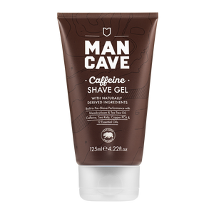 ManCave caffeine shave gel is a short brown 100% recyclable tube with white writing bottle with white writing and is pictured on a plain white background.