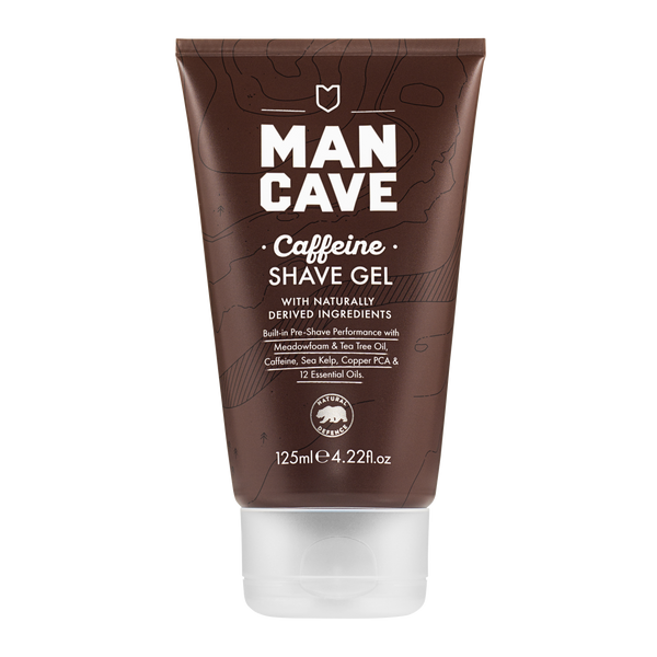 ManCave caffeine shave gel 125ml in a 100% recyclable brown tube on a plain white background