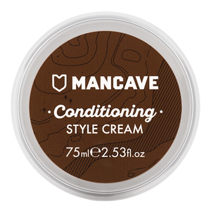 ManCave conditioning style cream is a clear circular tub with a brown circular label with white writing and is pictured on a plain white background.