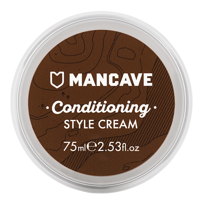ManCave conditioning style cream 75ml in a brown tub on a plain white background