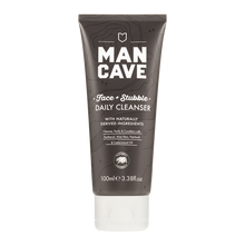 ManCave face and stubble daily cleanser 100ml in a 100% recyclable grey tube on a plain white background