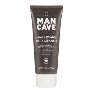 ManCave face and stubble daily cleanser is a grey 100% recyclable tube with white writing and is pictured on a plain white background