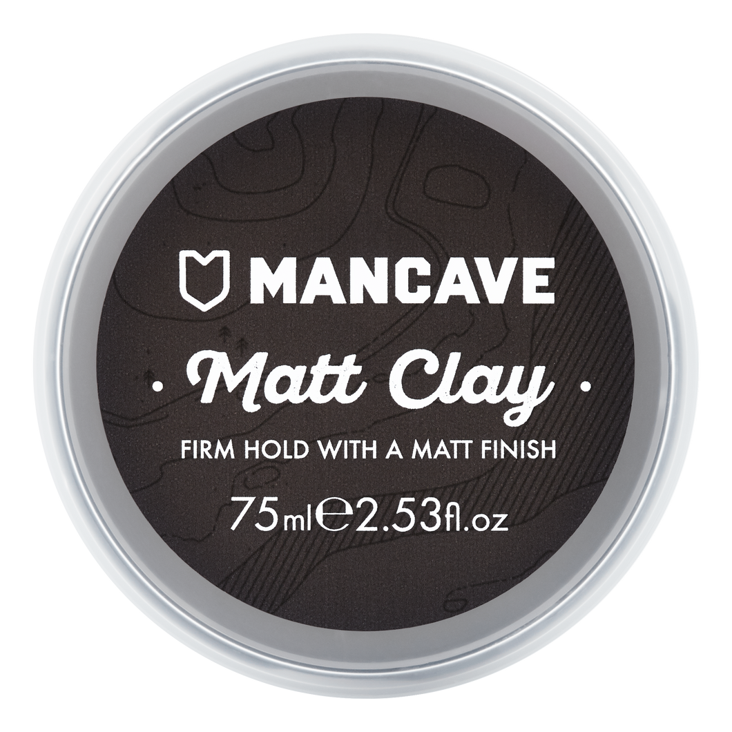 ManCave matt hair clay 75ml in a black tub on a plain white background