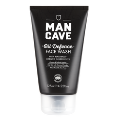ManCave oil defence face wash 125ml in a 100% recyclable black tube on a plain white background