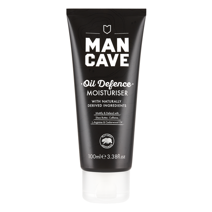 ManCave oil defence moisturiser 100ml in a 100% recyclable black tube on a plain white background