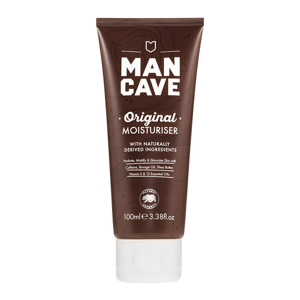 ManCave original moisturiser 100ml in a 100% recyclable brown tube on a plain white background