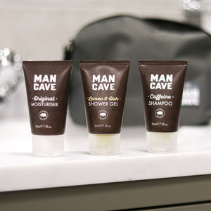 A set of 3 mini sample sized ManCave 100% recyclable brown tubes. ManCave Original Moisturiser 30ml, ManCave lemon & oak shower gel 30ml and mancave caffeine shampoo 30ml.
