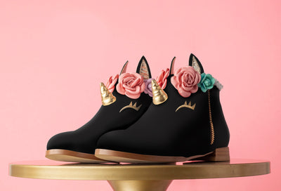Black Unicorn Cake Booties Kids