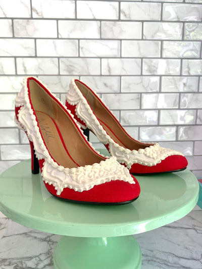 Baked and Ready Red Velvet Heels Sz 7