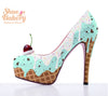 "Baked and Ready Mint Chip Ice Cream Heels  sz 11 5.5"" Heel Height"