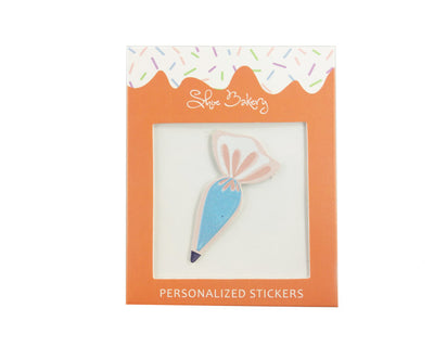 Light Blue Piping Bag Sticker