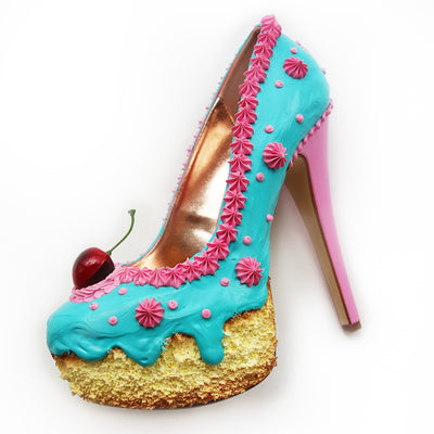 Teal and Pink Cake Heels