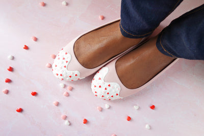 Heart Sprinkle Flats- Light Pink