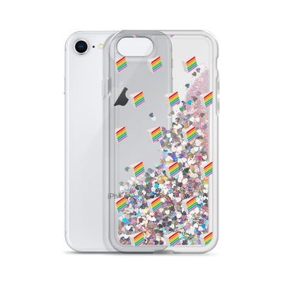 Rainbow Cake Slice Liquid Glitter Phone Case