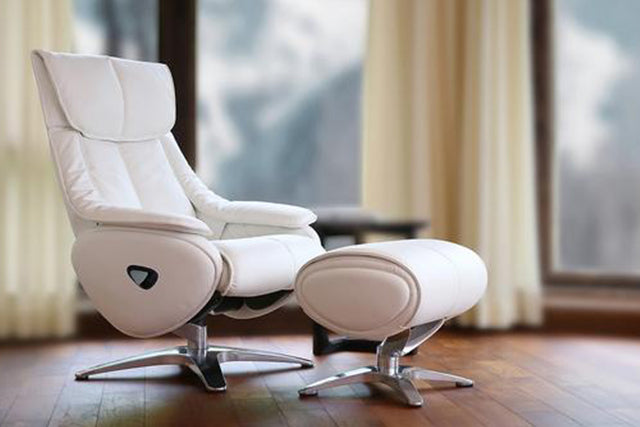 On Sale Granada Luxury Reclining Chair In Real Cowhide White Leather