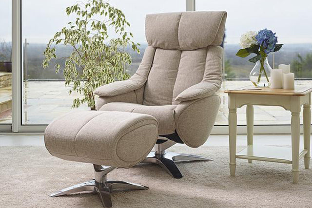 On Sale Granada Luxury Reclining Chair In Salt And Pepper Fabric