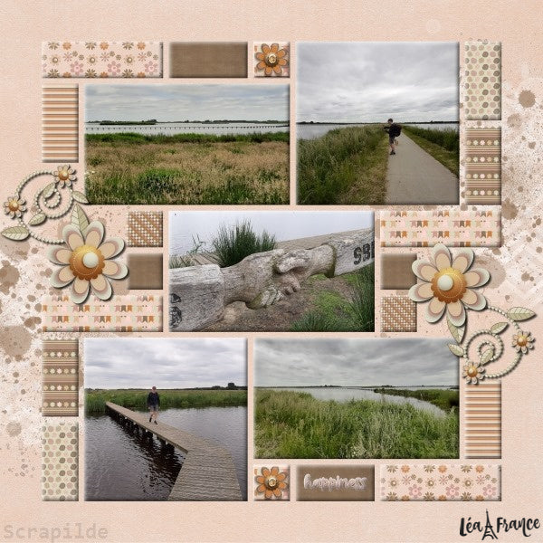 Grid Digital Léa France® Scrapbook Template 16