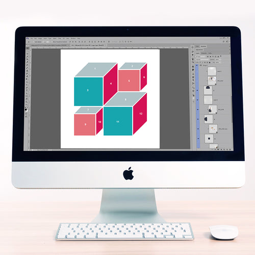 3D Cubes 4 Digital Scrapbook Template