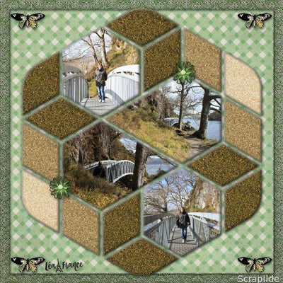 Hexagon Digital Scrapbook Template 3