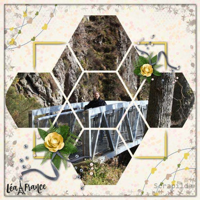 Hexagon Digital Scrapbook Template 4
