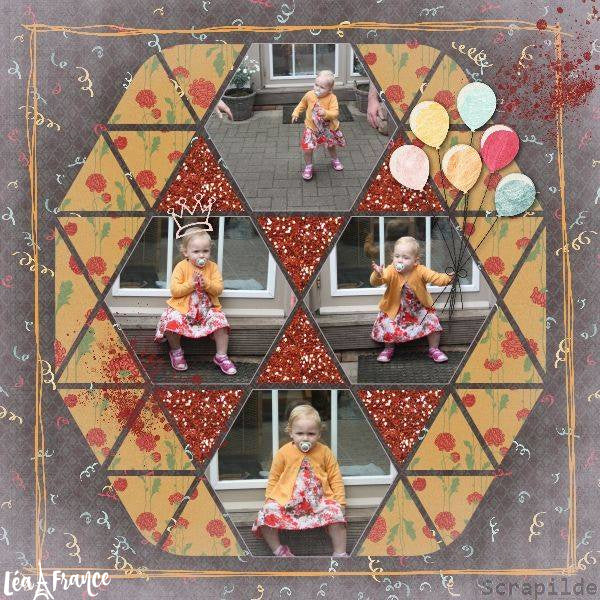 Hexagon Digital Scrapbook Template 5