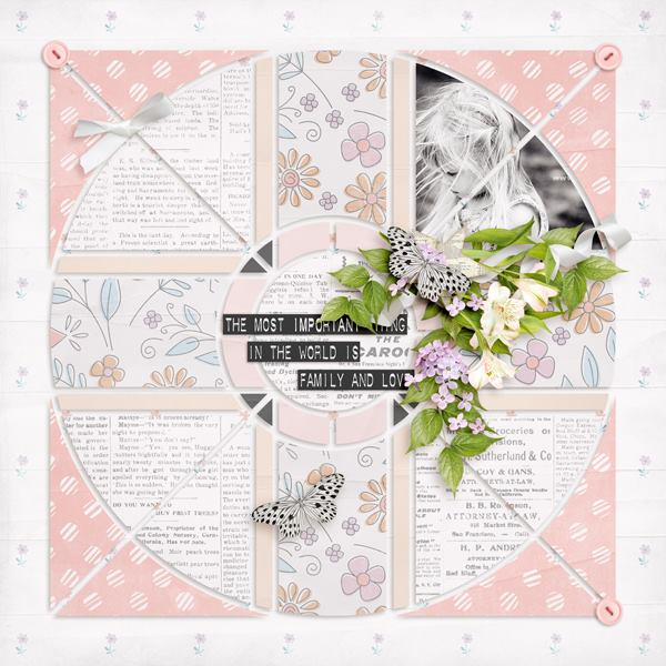 Compass 5 Digital Léa France® Scrapbook Template