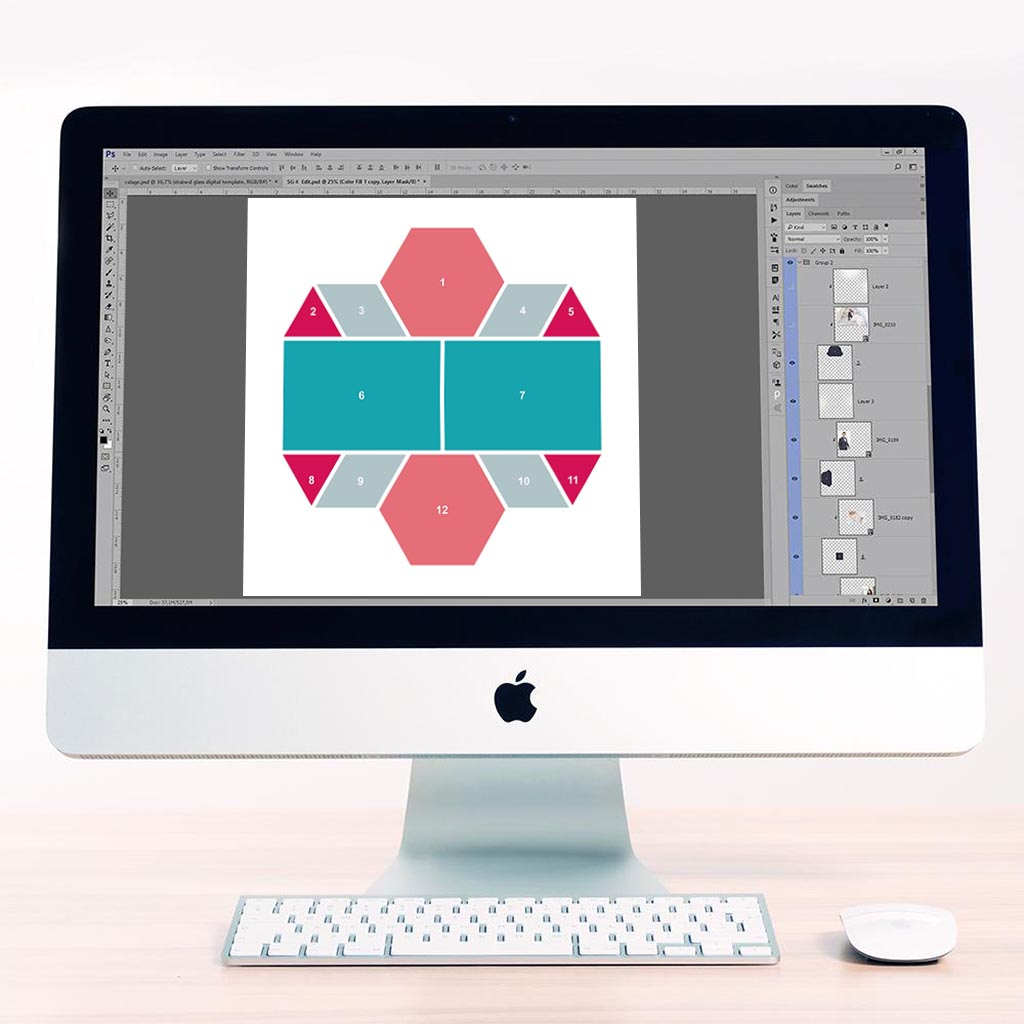 Hexagon Digital Léa France® Scrapbook Template 1