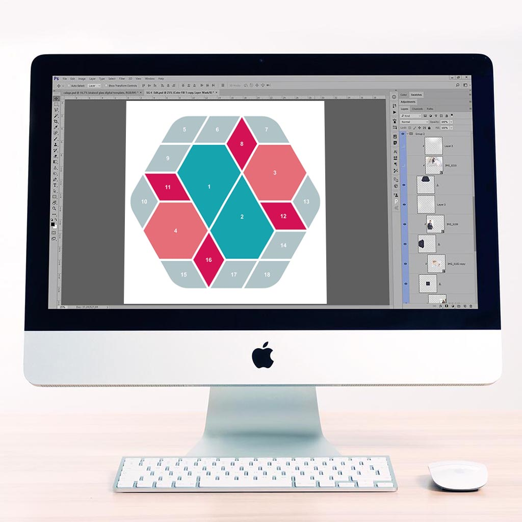 Hexagon Digital Léa France® Scrapbook Template 3