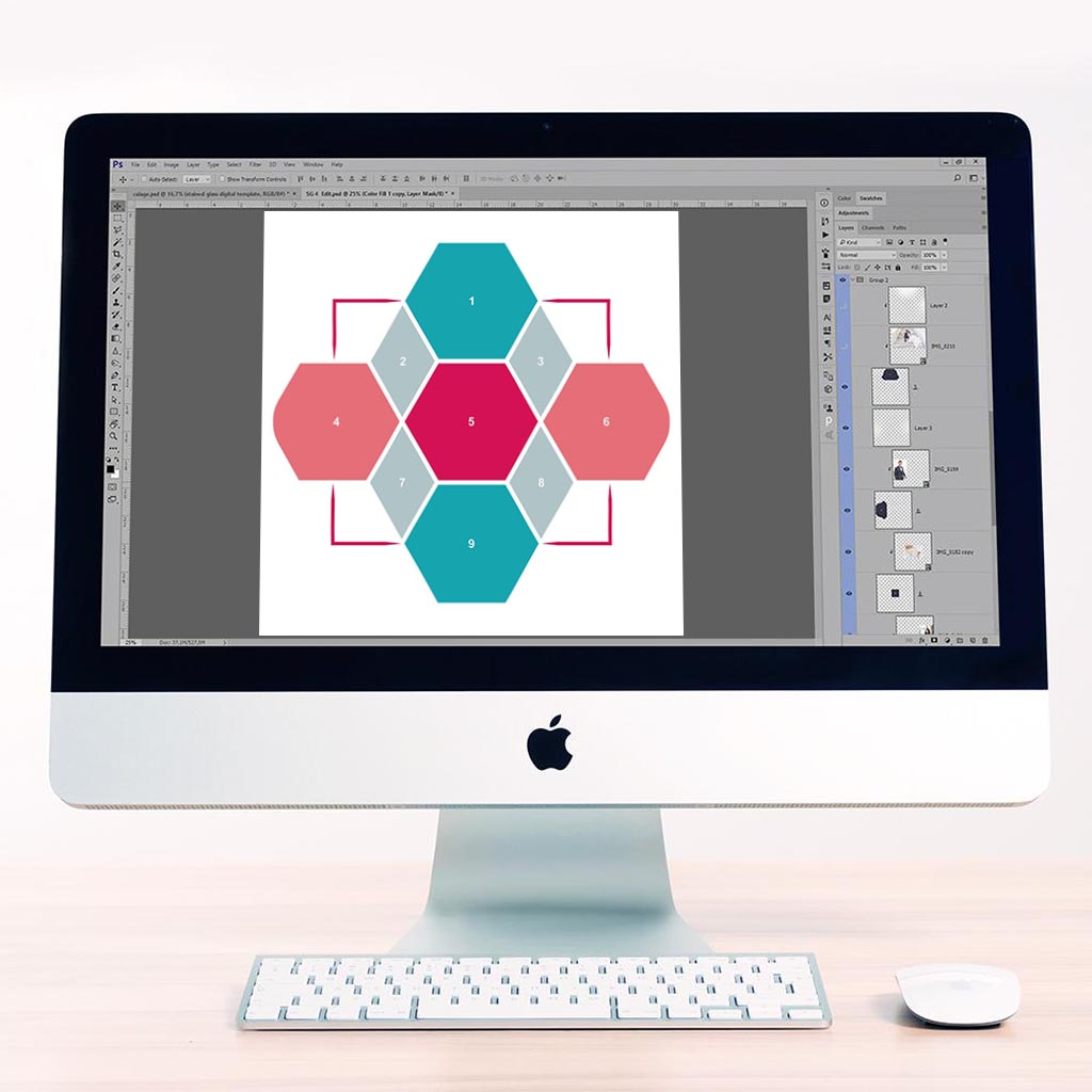 Hexagon Digital Léa France® Scrapbook Template 4