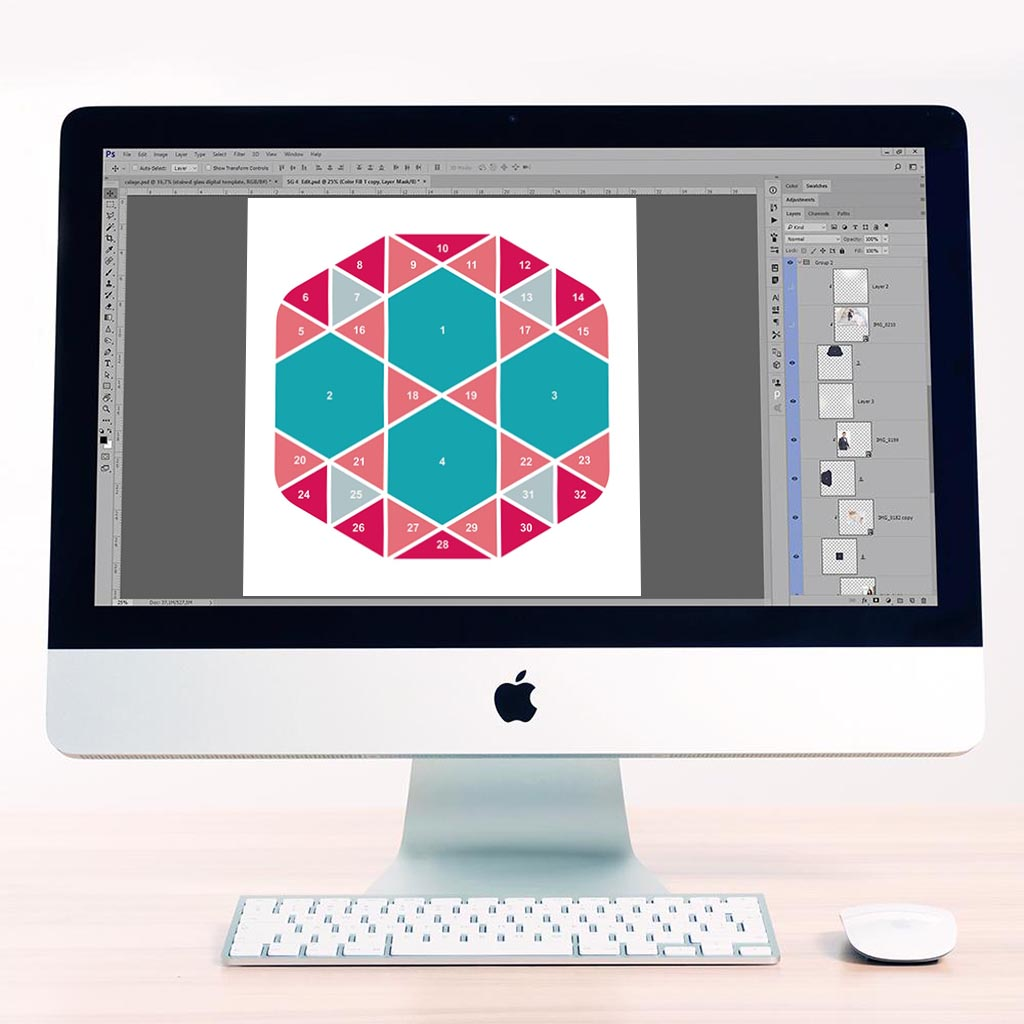 Hexagon Digital Léa France® Scrapbook Template 5