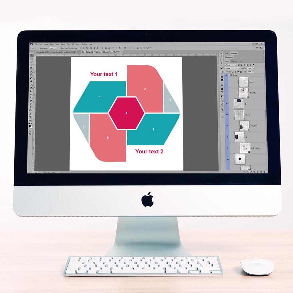 Hexagon Digital Scrapbook Template 6
