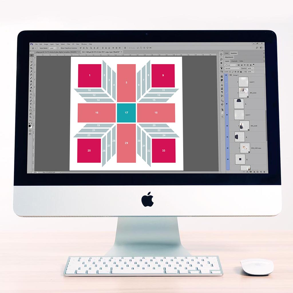 3D Cubes 5 Digital Léa France® Scrapbook Template