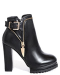 Black Tractor Sole Ankle Boots