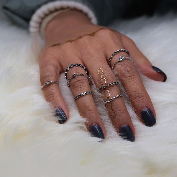 8pcs/Set Women Bohemian Vintage Silver Stack Rings Above Knuckle Blue Rings Set
