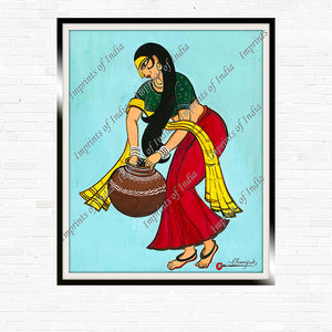 Indian Woman carrying an Earthen Pot