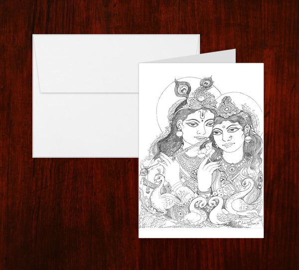 Radha Krishna Sketch Greeting Card