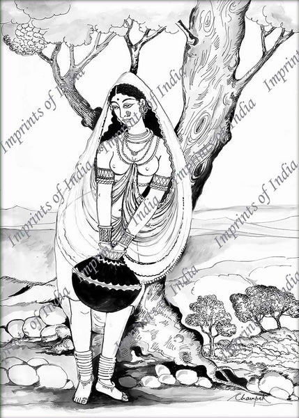 Indian village woman on Panghat, meaning the Bank of River or Lake