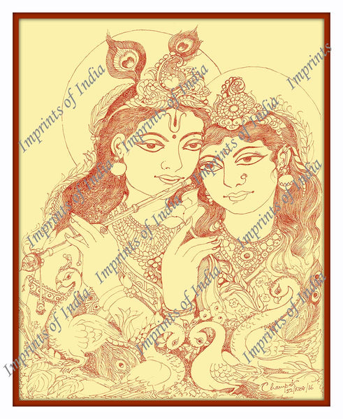 Hindu God Krishna, with his beloved Radha