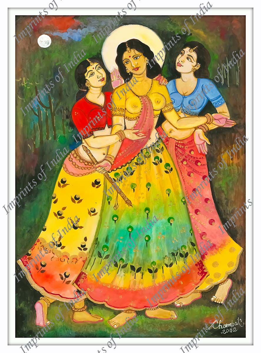Radha and her Friends in Vrindavan